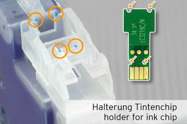 [Translate to Italienisch:] Halterung für Chip an LC-3219 LC-3217 Patrone