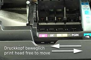 Canon print head free to be moved from side to side