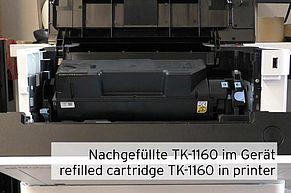 Nachgefüllte TK-1160 Tonerkartusche im ECOSYS P 2040
