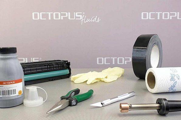 Material, Werkzeug und Zubehör für die erneute Befüllung der HP 201A / HP 201X zur Wiederverwendung.