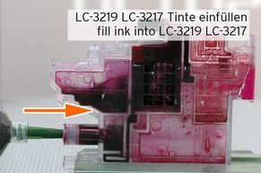 Push refill ink into LC3219 ink chambers