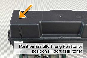 Positionionierung Befüllöffnung für den Nachfülltoner auf TK-1160 Tonerkartusche
