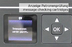 printer checking inkjet cartridge shown on Epson display