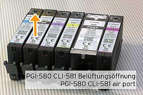Canon PGI-580 CLI-581 Apertura di ventilazione sul lato superiore.