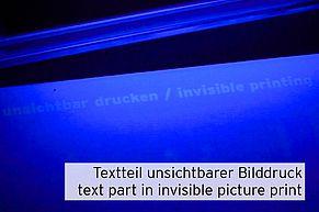 [Translate to Englisch:] Leuchtender Text mit unsichtbarer Druckertinte