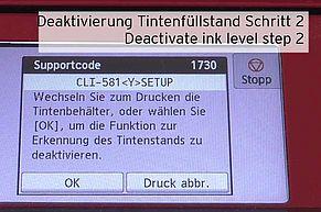 [Translate to Englisch:] Funktion Erkennung Tintenstand deaktivieren