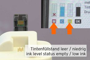 [Translate to Englisch:] Patrone leer, niedriger Tintenstand bei LC-3217 LC-3219 Patronen
