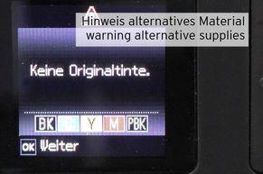 Warnung vor alternativen Patronen Epson 33
