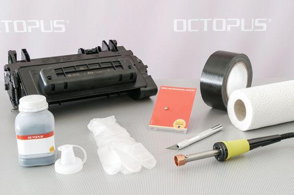 Material, Werkzeug und Zubehör für die erneute Befüllung und Wiederverwendung der HP 81 Kartusche.