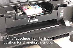 Position for exchanging Canon inkjet cartridges