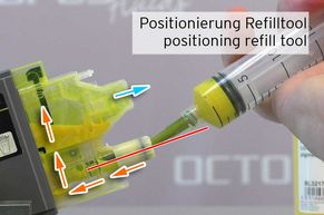[Translate to Englisch:] Einfüllen der Tinte über den Tintenanlass mit Refilltool