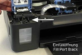 Fill port for black Canon printer ink