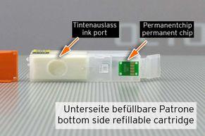 [Translate to Italienisch:] Permanentchip und Tintenauslass an PGI580 CLI581