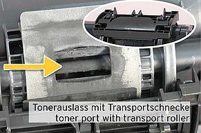 Tonerauslass an TK-1160 Kartusche mit Tonertransportschnecke