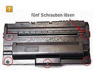 Samsung ML-2250 D5, D8 ELS - fünf Schrauben lösen