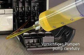 Brother Druckkopf reinigen mit vorsichtigem Pumpen