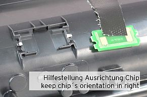 How to remember correct positioning toner chip?