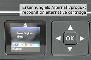 Display showing that alternative Epson 29 cartridge is installed