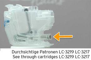 [Translate to Italienisch:] Tintenauslass an LC-3219 Tintenpatrone