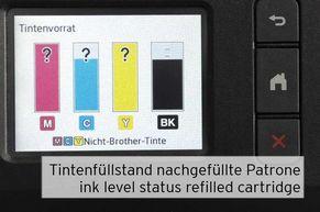 [Translate to Englisch:] Anzeige Tintenfüllstand von nachgefüllten LC3217 LC3219 Brother Patronen