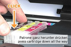 click cartridge into Epson print head compartment