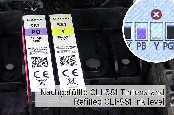 [Translate to Englisch:] Tintenfüllstand nachgefüllter Canon CLI-581 Patrone ohne Chipresetter