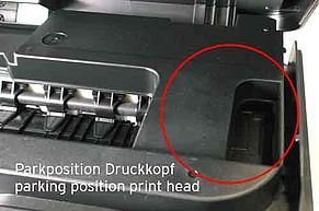 Parking position print head inside Brother inkjet printer