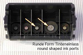 Fori di ingresso inchiostro di forma rotonda