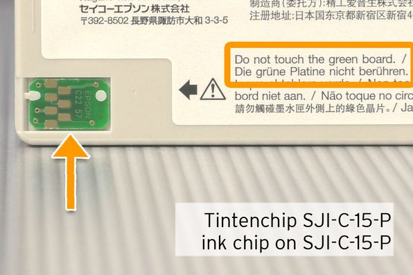 chip on Epson SJIC15P inkjet cartridge for TMC3400