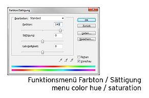 [Translate to Englisch:] Funktionsmenü Farbton / Sättigung bei Photoshop