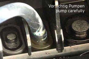 Düsenreinigen mit vorsichtigem Pumpen