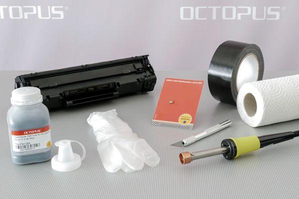 Material, Werkzeug und Zubehör für die erneute Befüllung und Wiederverwendung der HP 79A Kartusche.