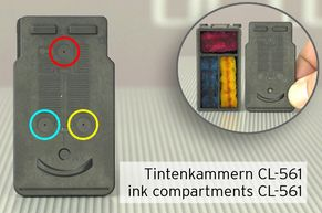ink compartments in a Canon CL-561
