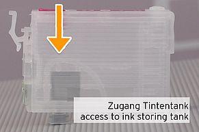 [Translate to Englisch:] Zugang Tintentank befüllbare Leerpatrone Epson 29