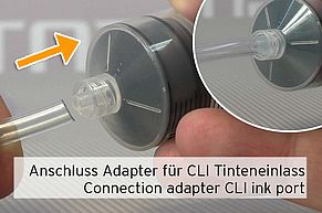 [Translate to Englisch:] Anschluss des Adapters für Canon CLI Tinteneinlass an der Refillspritze