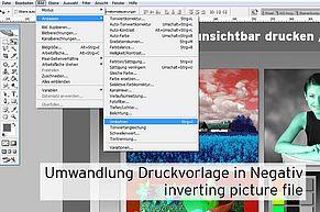 [Translate to Englisch:] Bildvorlage umwandeln invertieren in Negativ mit Photoshop