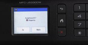 Insert Brother print cartridge Acknowledge replacement messagen