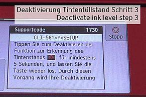 [Translate to Englisch:] Stopptaste Canon drücken Deaktivierung Erkennung Tintenstand