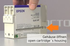 Open housing of inkjet cartridge for Epson TMC3400