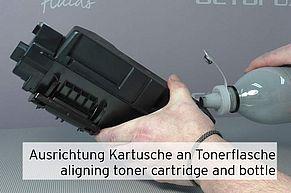 Einfüllöffnung an TK-1160 auf Trichter an Tonerflasche ausrichten