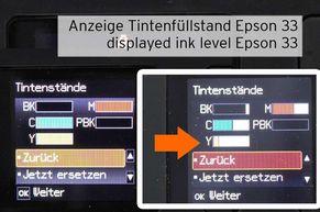 Anzeige Tintenfüllstand bei Epson 33 Tintenpatronen