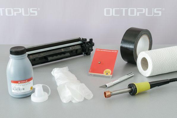 Material, Werkzeug und Zubehör für die erneute Befüllung und Wiederverwendung der HP 17A Kartusche.