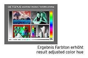 [Translate to Englisch:] Ergebnis Anhebung Farbton 140 bei Testbild unsichtbarer Druck