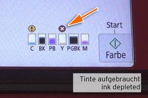 """[Translate to Italienisch:] Warnung Füllstand """"Tinte aufgebraucht"""" bei CLI-581 Yellow"""