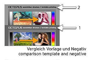[Translate to Englisch:] Vergleich Vorlage und Negative Fotodruck unsichtbare Tinte