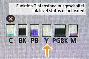 [Translate to Englisch:] Anzeige Tintenstand abgeschaltet bei Canon CLI581 Druckerpatrone