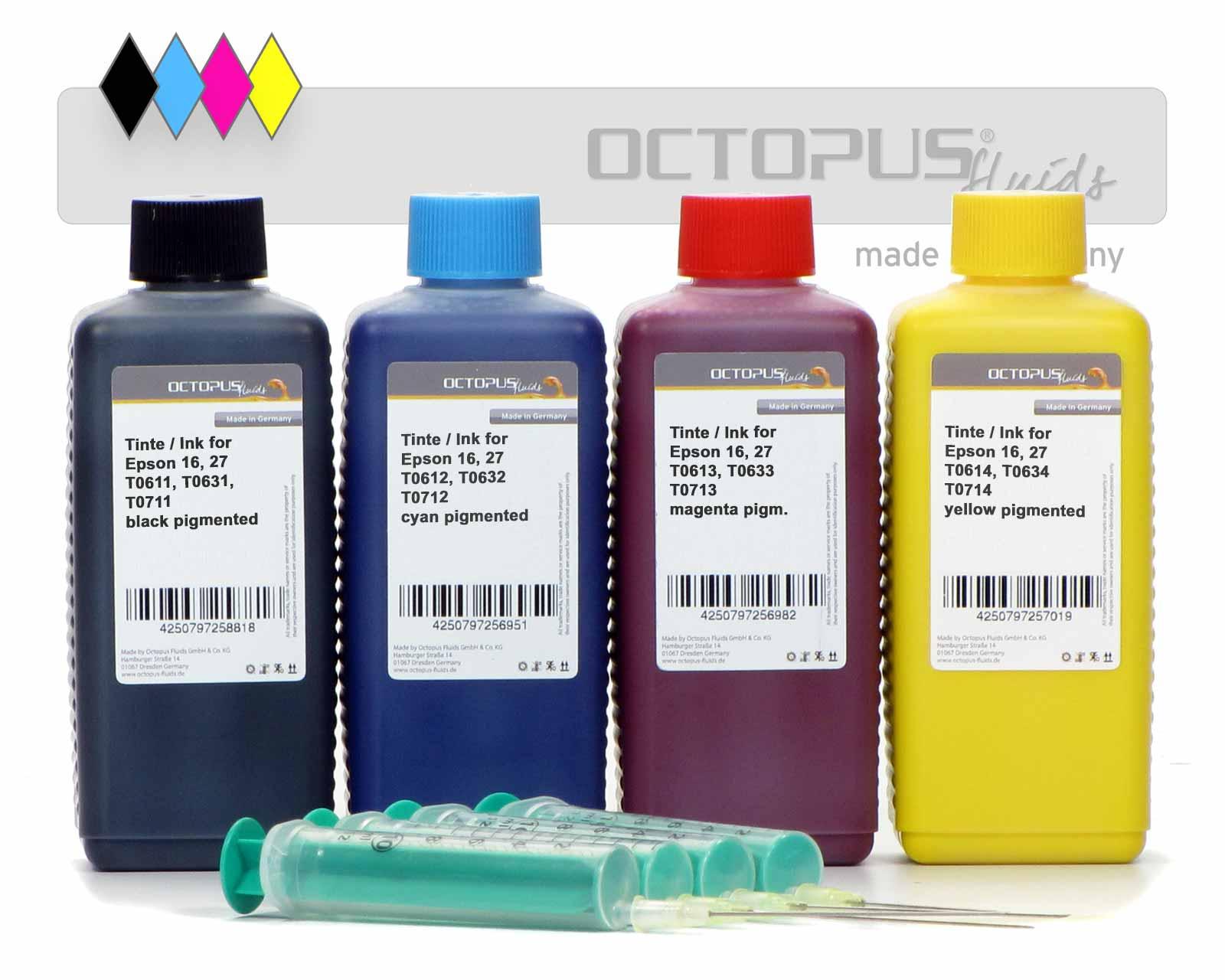 Druckertinten für Epson 16, 27, T061x, T063x, T071x, alle 4 Farben
