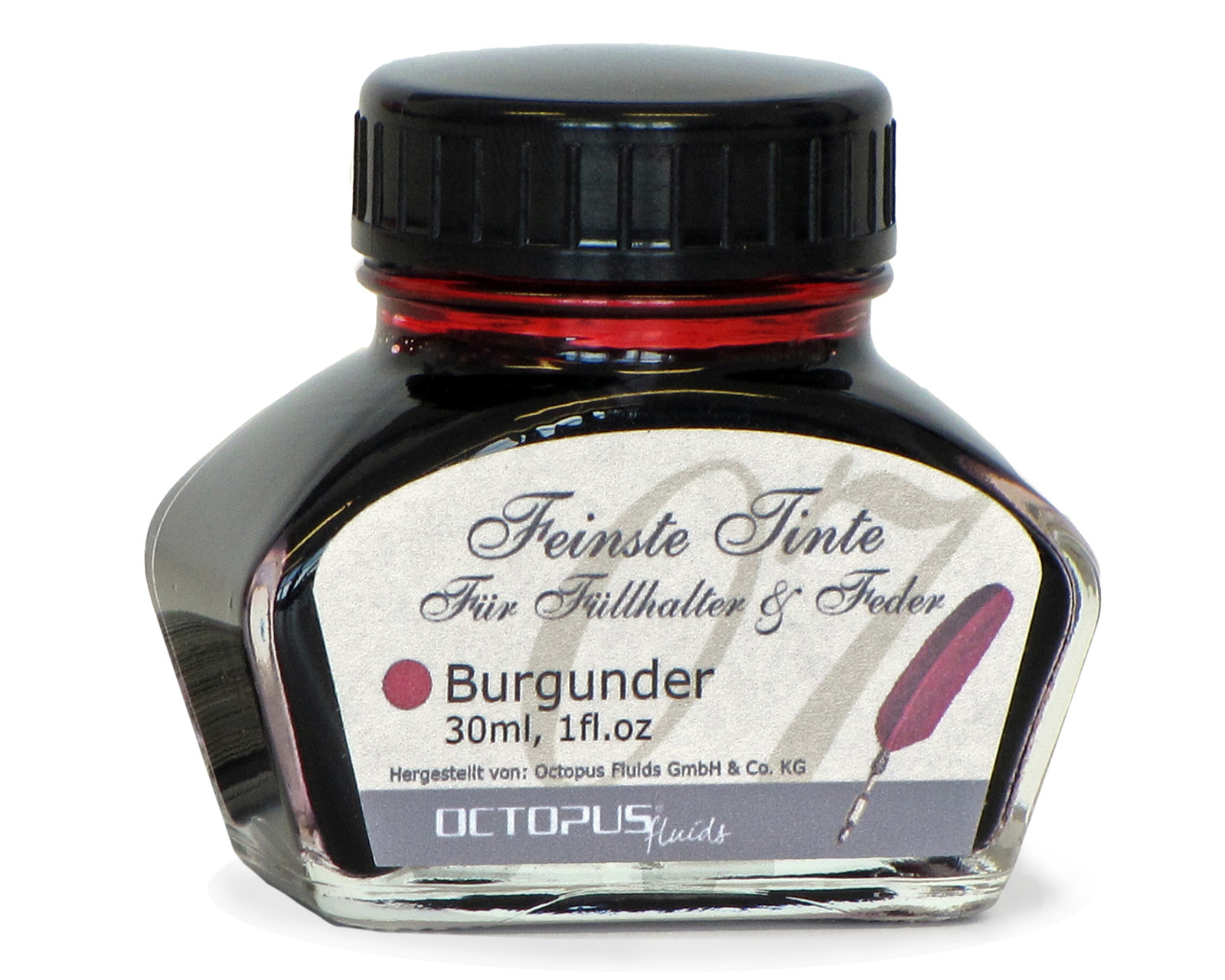 Fine writing ink for fountain pens and quills, burgundy