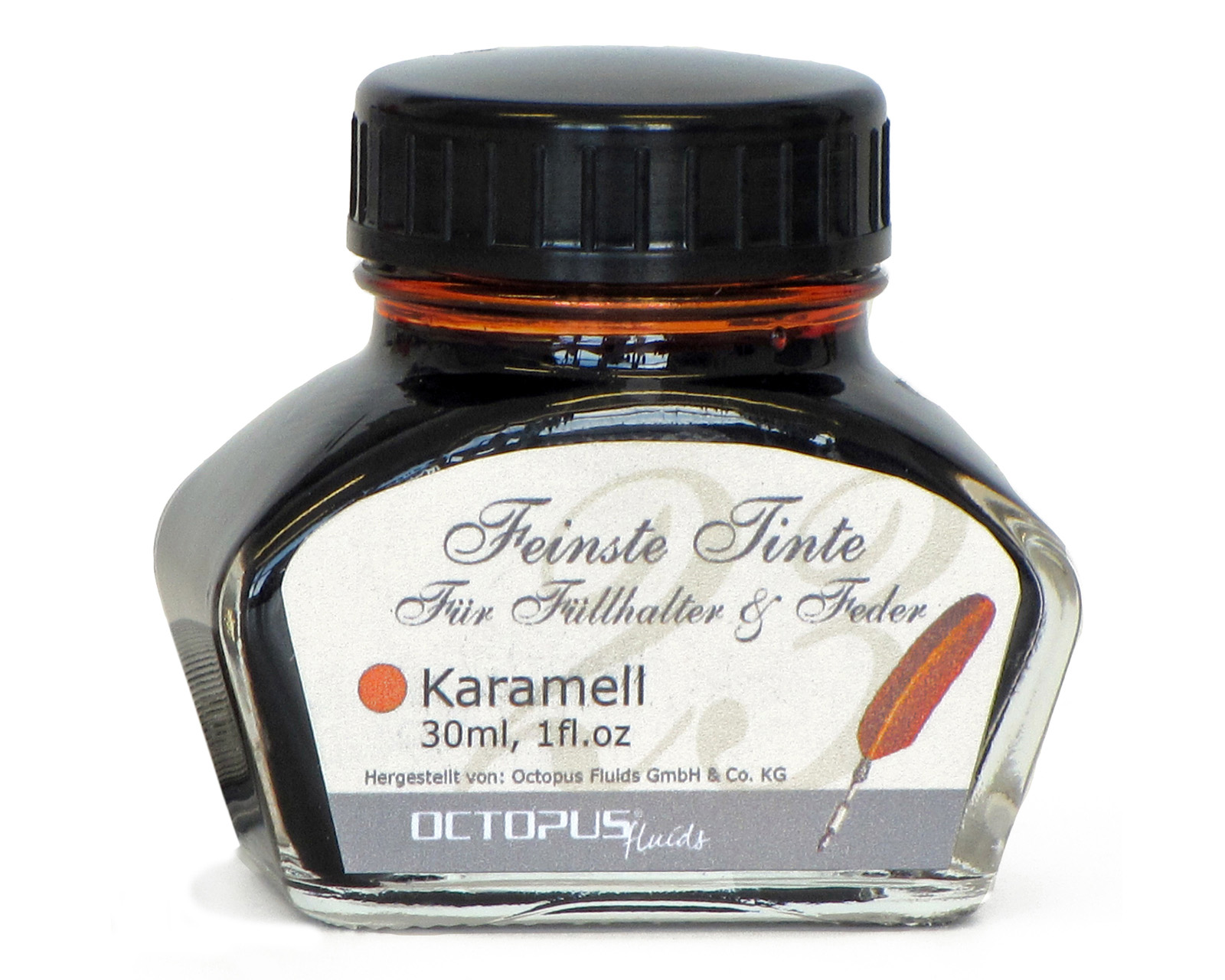 Fine writing ink for fountain pens and quills, caramel