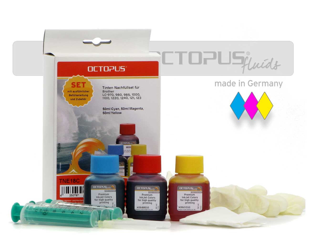 Ink refill kit Brother LC-970, 980, 985, 1000, 1100, 1220, 1240, 121, 123 color